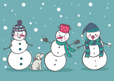 Set of 3 snowman, part1. Vector illustration Royalty Free Stock Photos