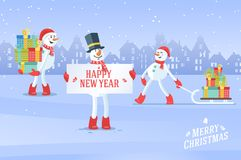 Set of snowmans christmas vector background Royalty Free Stock Photography