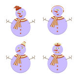 Set of Snowmans Stock Photography