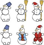 Set of snowmen. Illustration of six different festive snowmen, isolated on white background Royalty Free Stock Photos