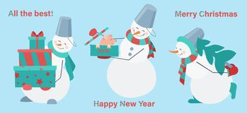 Set of snowmen on a blue background. Snowman with gifts, pig and fur-tree. Happy New Year. Merry Christmas stock illustration