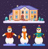 Set of snowmen in different styles Stock Photo