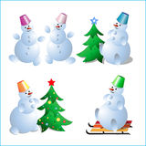 A set of snowmen for a New Years card. Vector illustration Stock Photo