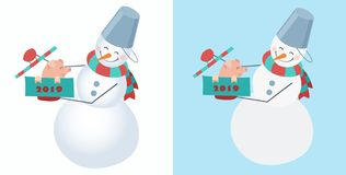 Set of snowmen. Snowman wearing a striped scarf and a bucket on his head with a cute little pig sitting in the box. royalty free illustration