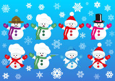 Set of snowmen wearing different hats Stock Images