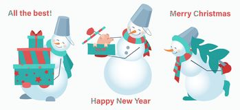 Set of snowmen on a white background. Snowman with gifts, pig and fur-tree. Happy New Year. Merry Christmas vector illustration