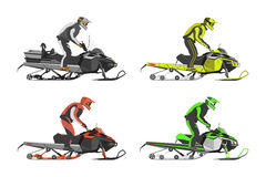 Set of snowmobiles. Transport for extreme sport. Snowmobile with. Driver. Vector illustration Stock Photography