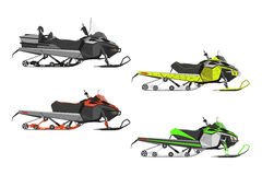 Set or snowmobiles on a white background. Transport for extreme Royalty Free Stock Images