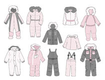 Set of snowsuits for little girls Royalty Free Stock Image