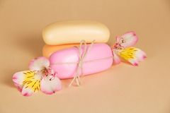 Set of soap with a rope and the flower Royalty Free Stock Photography