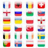 Set of 24 soccer balls icons flags of the participant countries. Football Euro cup 2016 Royalty Free Stock Images
