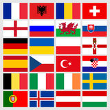 Set of 24 soccer balls icons flags of the participant countries. Football Euro cup 2016. Vector illustration EPS10 Royalty Free Stock Photo
