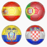 Set of soccer balls mapping with country flags Royalty Free Stock Photo