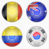 Set of soccer balls mapping with country flags Stock Photos