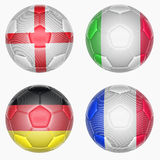 Set of soccer balls mapping with country flags Stock Photography