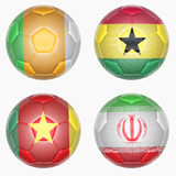Set of soccer balls mapping with country flags Royalty Free Stock Photos