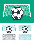 Set of soccer balls with nets and goal posts Stock Image