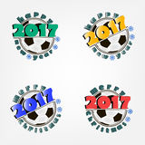 Set of soccer balls and New Year. Set of soccer ball and a Happy New Year 2017.  Vector illustration Stock Photography