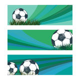 Set of soccer banners with sketch ball. Stock Image