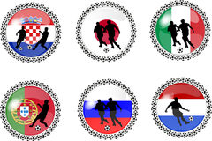 Set of soccer buttons 3. Illustration of a set of soccer buttons Royalty Free Stock Photography