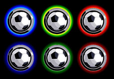 Set of soccer buttons on black background Royalty Free Stock Images