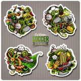 Set of Soccer cartoon stickers. Vector hand drawn objects and symbols collection. Label design elements. Cute patches, pins, badges series. Comic style Stock Photos