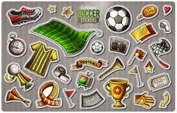 Set of Soccer cartoon stickers. Vector hand drawn objects and symbols collection. Label design elements. Cute patches, pins, badges series. Comic style Stock Images