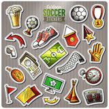 Set of Soccer cartoon stickers. Vector hand drawn objects and symbols collection. Label design elements. Cute patches, pins, badges series. Comic style Royalty Free Stock Photo