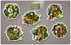 Set of Soccer cartoon stickers. Vector hand drawn objects and symbols collection. Label design elements. Cute patches, pins, badges series. Comic style Royalty Free Stock Photos