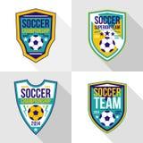 Set of soccer championship emblems. Bright soccer championship emblems in flat style Stock Photography