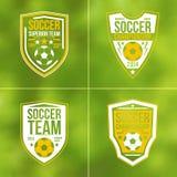 Set of soccer championship flat emblems. Soccer championship emblems in flat style on blurred background Royalty Free Stock Photo