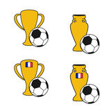 Set of soccer cup, icon of European football,  golden symbol of championship in France, icons with ball. Illustration Royalty Free Stock Photos
