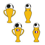Set of soccer cup, icon of European football,  golden symbol of championship in France, icons with ball. Illustration Stock Photos