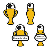 Set of soccer cup, icon of European football,  golden symbol of championship Stock Images