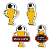 Set of soccer cup, icon of European football,  golden symbol of championship, stickers. Illustration Stock Photography
