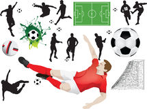 Set of soccer elements Royalty Free Stock Images