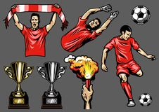 Set of soccer elements and players. Vector illustration Royalty Free Stock Photo