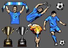 Set of soccer elements and players. Vector illustration Royalty Free Stock Photos