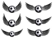 Set soccer emblems. With wings Royalty Free Stock Photography