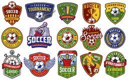 Set of soccer emblems. In colour style. Vector illustration royalty free illustration