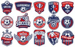 Set of soccer emblems. In colour style. Vector illustration stock illustration