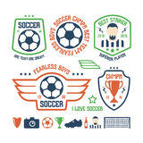Set of soccer emblems and icons Royalty Free Stock Photo