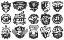 Set of soccer emblems. In monochrome style. Vector illustration royalty free illustration