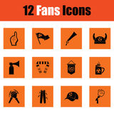 Set of soccer fans icons. Orange design. Vector illustration Royalty Free Stock Image