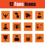 Set of soccer fans icons. Orange design. Vector illustration Stock Images