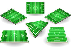 Set of Soccer fields in six different positions Stock Images