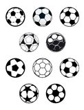 Set of soccer or football balls Stock Photography