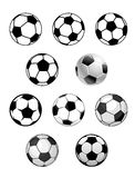 Set of soccer and football balls Stock Images