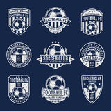 Set of Soccer Football Club Logo. Set of retro styled soccer football club logo templates. Soccer football labels with sample text. Soccer Football icons for Stock Images
