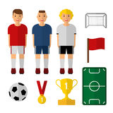 Set of soccer, football illustrations. Soccer players. Isolated s. Flat design. Web icons. Soccer player, trophy, ball. Set of soccer, football illustrations Stock Photo